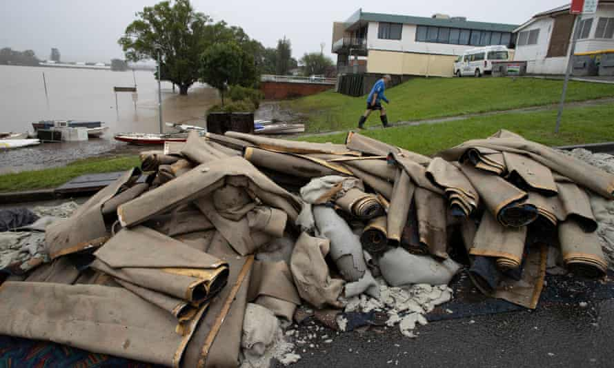 Ruined carpets outside the Taree Aquatic Club after last month's floods