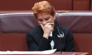 One Nation's leader Pauline Hanson