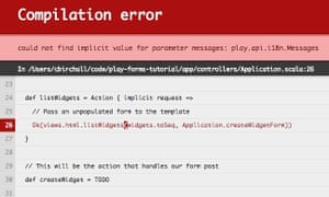 Play compilation error showing that passing the request implicitly does not help in this case