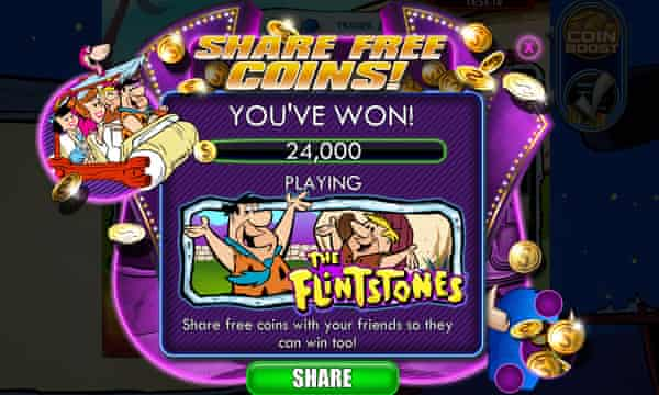 Gambling-themed app with picture of the Flintstones.