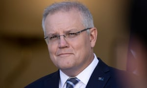 Prime minister Scott Morrison at a press conference in the PM's courtyard of Parliament House in Canberra this morning.