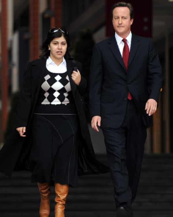 'The craziness of the party' … Warsi with David Cameron.