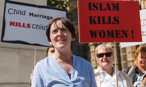 Anne Marie Waters at an 'Islam kills women' rally in Westminster in 2016