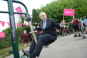 Uxbridge, England Boris Johnson opens a new playground gym in Uxbridge