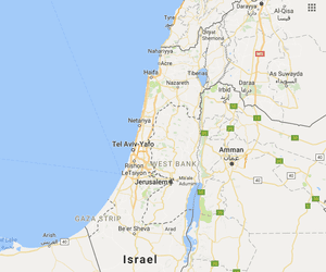 Israel and the Palestinian territories on Google Maps, 19 August 2016.