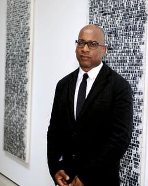 Glenn Ligon at an exhibition of his work.