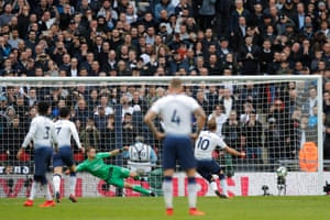 Harry Kane got up to equalise from the spot for Spurs but he had been offside before being fouled.