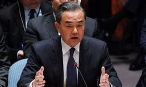 Chinese foreign minister Wang Yi speaks at the UN security council meeting on 27 September.