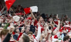 Denmark fans celebrate in Copenhagen.
