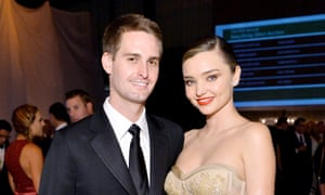 Spiegel with his wife, the model Miranda Kerr.
