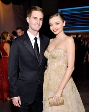 Snapchat's Evan Spiegel with Miranda Kerr.