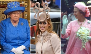 From left: the Queen at the opening of parliament, 2017; Princess Beatrice at the wedding of Prince William and Catherine Middleton in 2011; the Queen on a Silver Jubilee walkabout in 1977.