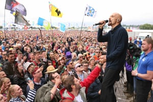 James' lead singer Tim Booth entertains the crowd