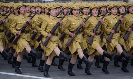 North Korean soldiers march during a mass military parade at Kim Il-Sung square in Pyongyang.