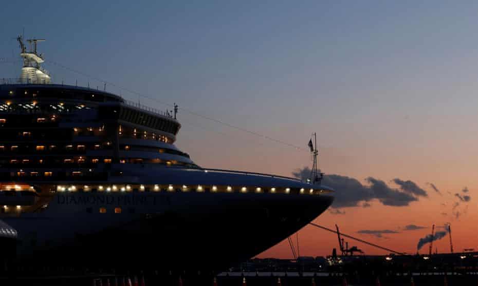 The Diamond Princess lies at anchor at Daikoku pier in Yokohama, south of Tokyo.