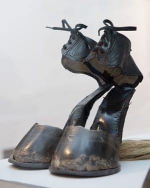 Hoof shoes from Quadrille, 1975 by Rose English at the Harley Gallery.