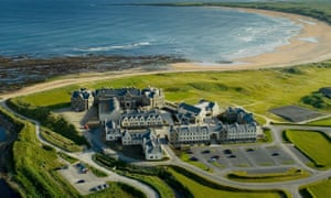 Aerial view of the Trump Hotel and golf course at Doonbeg in Ireland