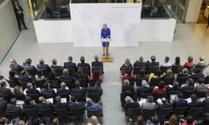 May's previous Brexit speeches had taken place in Lancaster House and a Florentine palazzo. Now she was squeezed into an atrium in Charing Cross.