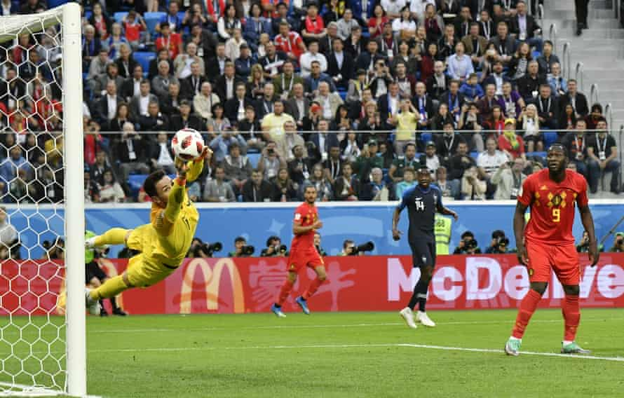 Romelu Lukaku watches Hugo Lloris save a shot from Toby Alderweireld as Belgium came up just short in the 2018 World Cup semi-final against France