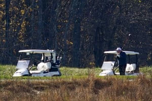 Donald Trump participates in a round of golf at the Trump National Golf Course on Saturday.