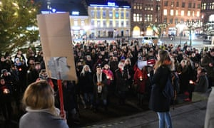 People take part in a demonstration against rape in Malmö, Sweden, on Tuesday.
