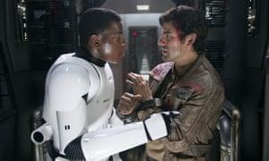 Pucker up, buttercup ... John Boyega and Oscar Isaac in Star Wars: The Force Awakens.
