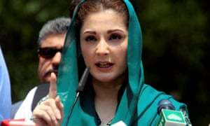 Mariam Nawaz Sharif, the daughter of Pakistan's Prime Minister speaks to media after appearing before an investigation in Islamabad.
