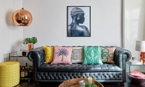 'Fabrics tell a story': cushion designs based on Yoruba embroidery with a photograph by Eliot Elisofon above.