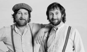 Chas Hodges, left, with Dave Peacock in 1983. Their hits included Rabbit, Gertcha, Snooker Loopy and Ain't No Pleasing You.