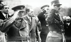 Winston Churchill, left, and Charles de Gaulle at the Armistice Day celebrations in Paris, 1944.