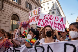 Rome, Italy. Last year Rome's Pride parade was cancelled owing to the Covid-19 pandemic. The Italian prime minister defended parliament after the Vatican requested a revision on an anti-discrimination draft bill that provides protection for LGBTQ persons, saying the new law could interfere with religious freedoms