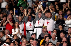 England fans in the stands celebrate going 10-0 ahead after a penalty kick by George Ford.