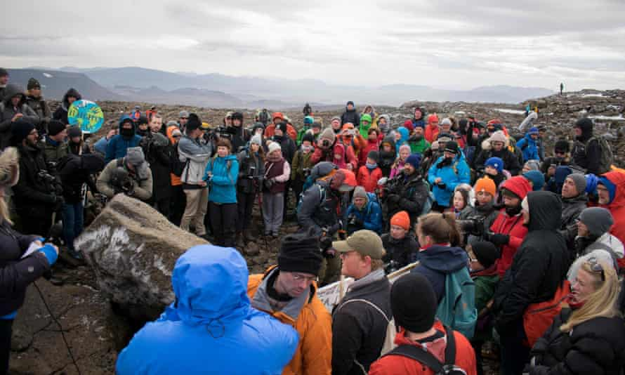 A ceremony to mark the passing of Okjokull, Iceland's first glacier lost to climate change. It once covered 16sq km but has melted to a fraction.