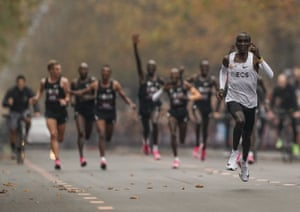 Eliud Kipchoge nears the finish on his way to breaking the two-hour marathon barrier in Vienna. The Olympic champion and world record holder from Kenya clocked 1 hour, 59 minutes and 40 seconds.