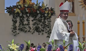 Bishop Juan Barros after Mass was celebrated by Pope Francis in Iquique, Chile, on 18 January.