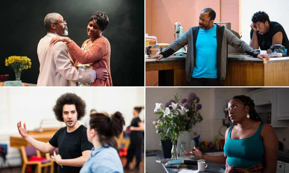 Clockwise from top left: Leave Taking by Winsome Pinnock, Lucian Msamati rehearsing Master Harold and the Boys, Funeral Flowers by Emma Dennis-Edwards, and director Justin Audibert.