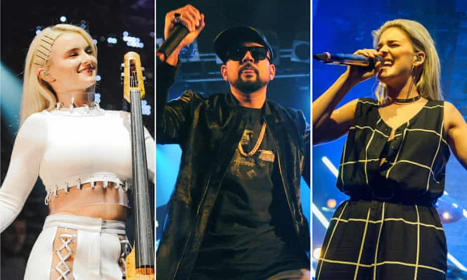 All together now … Clean Bandit's Grace Chatto, Sean Paul & Anne-Marie who have a UK No 1 hit.