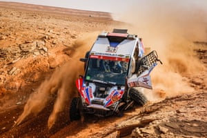 Xtremeplus Polaris Factory Team's Sebastian Guayasamin and co-driver Ricardo Adrian Torlaschi land heavily