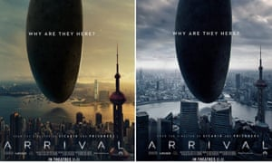 Shanghai's Oriental Pearl Tower looms large in both these posters for Arrival, but the one on the left uses a Hong Kong harbour backdrop.
