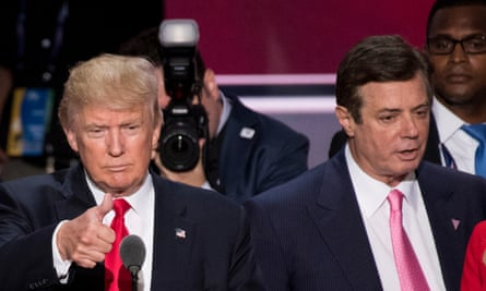 Donald Trump with then campaign manager Paul Manafort at the 2016 Republican convention in Cleveland.