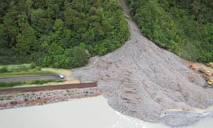 A landslip on State Highway 73 on the west coast of the South Island, after wild weather wreaked havoc.