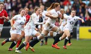 England's Harriet Millar-Mills makes a break to score her side's fourth try during the Women's Six Nations match between England and Wales at Twickenham Stoop.