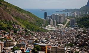 View down from the top of Rio de Janeiro Rocinha favela, Brazil.