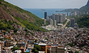 A view down to the coast from the top of the Rocinha favela.