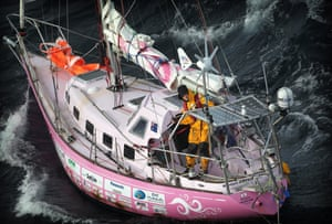 Round-the-world solo yachtswoman Jessica Watson rounding the southern tip of Tasmania in 2010