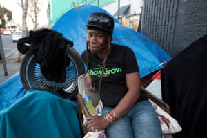 Ressy Finley, who lives in a tent on 6th Street in Downtown LA.