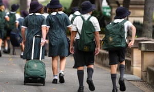 School students in Brisbane. Students in NSW, Queensland and many other areas returned to school on Monday.