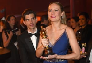 "Brie Larson, winner of the award for best actress in a leading role for ""Room"", at he Governors Ball after the Oscars"