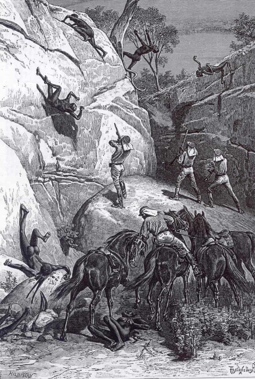 A drawing of men being shot as they try to climb out of a gorge