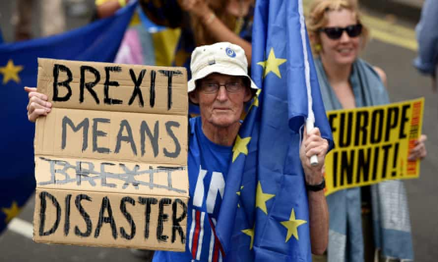 A protester at the March for Europe